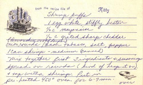 Handwritten Recipe For Shrimp Puffs