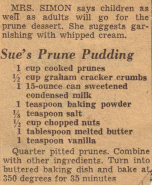 Vintage Recipe Clipping For Sue's Prune Pudding