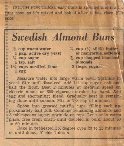 Recipe Clipping For Swedish Almond Buns