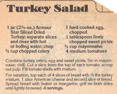 Recipe Clipping For Turkey Salad