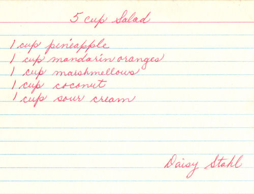 Handwritten Recipe Card For 5 Cup Salad