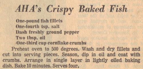 Crispy Baked Fish Recipe Clipping