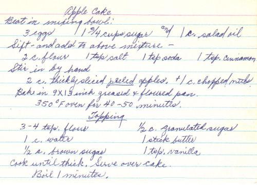 Handwritten Recipe Card For Apple Cake