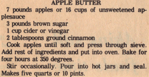 Vintage Canning Recipe For Apple Butter