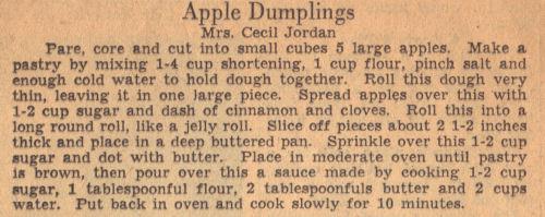 Vintage Recipe For Apple Dumplings