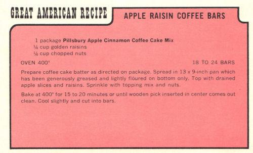 Vintage Recipe For Apple Raisin Coffee Bars