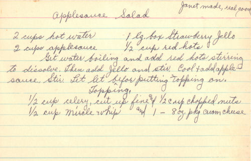 Handwritten Recipe Card For Applesauce Salad