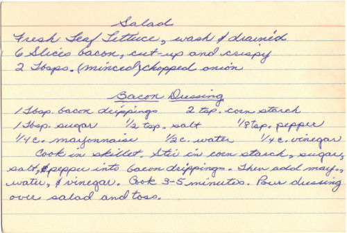 Handwritten Recipe Card For Bacon Dressing And Salad