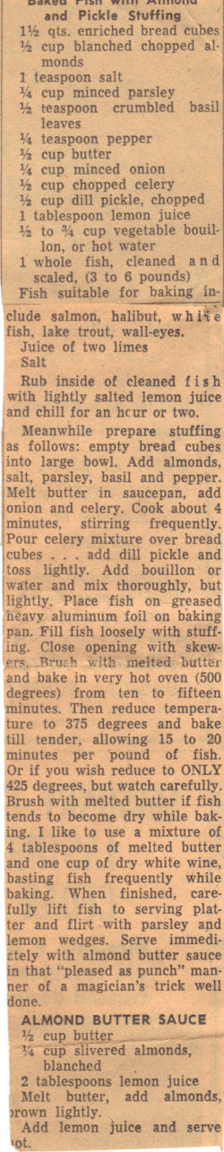 Vintage Recipe Clipping For Baked Fish
