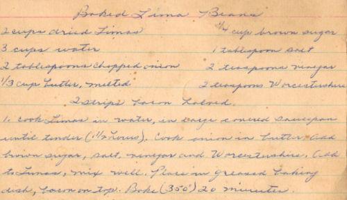 Handwritten Recipe For Baked Lima Beans
