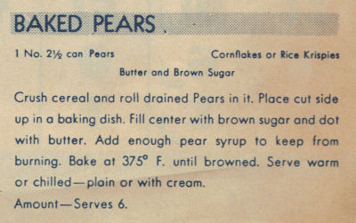 Vintage Baked Pears Recipe