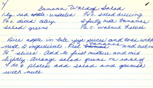 Handwritten Recipe For Banana Waldorf Salad
