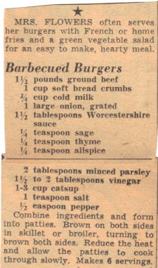 Recipe Clipping For BBQ Burgers