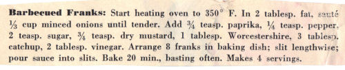 Recipe Clipping For Barbecued Franks