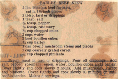 Barley Beef Stew Recipe Clipping