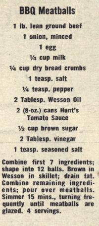 Promo Recipe Clipping For BBQ Meatballs