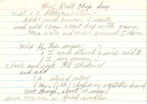 Handwritten Recipe For Beef Roast Chop Suey