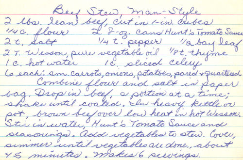 Handwritten Recipe For Beef Stew