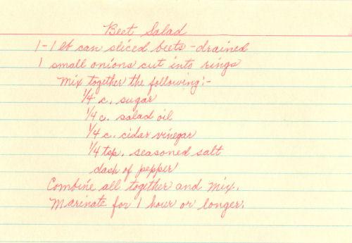 Handwritten Recipe Card For Beet Salad