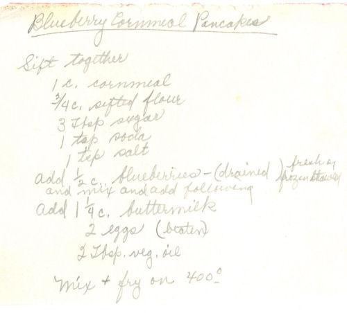 Handwritten Recipe For Blueberry Cornmeal Pancakes