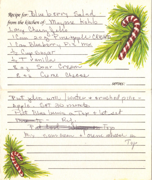 Handwritten Recipe For Blueberry Salad