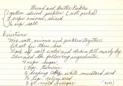 Handwritten Recipe Card For Bread And Butter Pickles