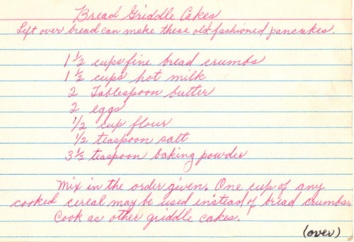 Handwritten Recipe For Bread Griddle Cakes