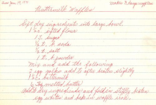 Handwritten Recipe For Buttermilk Waffles