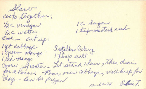 Handwritten Recipe For Cabbage And Mango Slaw