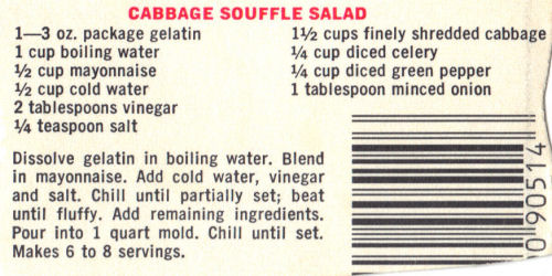 Recipe Clipping For Cabbage Souffle Salad