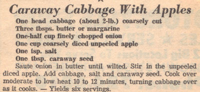 Caraway Cabbage With Apples Recipe
