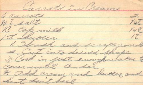 Handwritten Recipe For Carrots In Cream