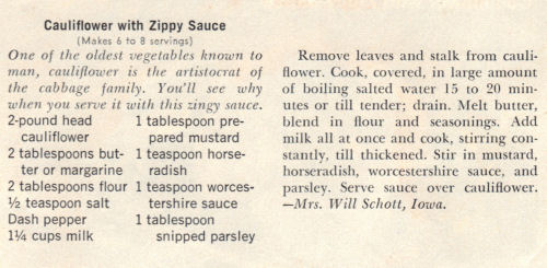 Recipe Cauliflower With Zippy Sauce
