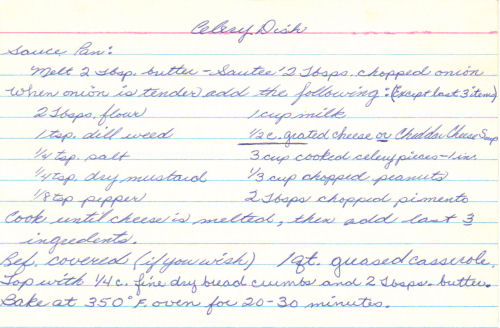 Handwritten Recipe Card For Celery Dish