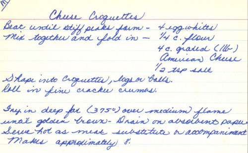 Handwritten Recipe For Cheese Croquettes