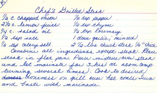 Handwritten Recipe For Grilled Steak