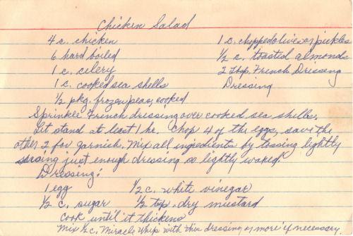 Handwritten Recipe For Chicken Salad