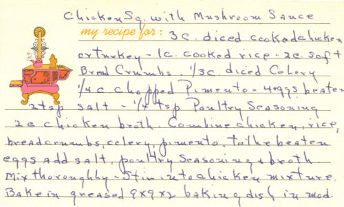 Handwritten Recipe Card For Chicken Squares