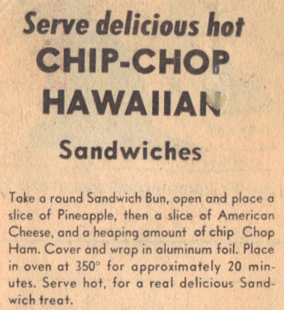 Vintage Recipe Clipping For Chip Chop Sandwiches