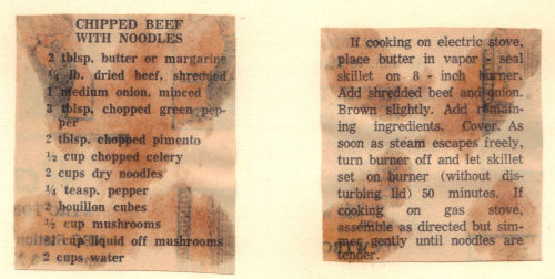 Vintage Recipe Clipping For Chipped Beef With Noodles