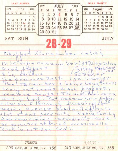 Handwritten Recipe For Cucumber Relish