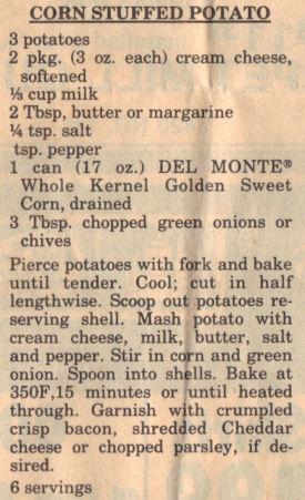 Corn Stuffed Potato Recipe