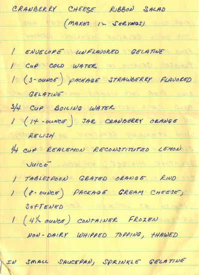 Handwritten Recipe For Cranberry Cheese Ribbon Salad