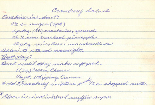 Handwritten Recipe Card For Cranberry And Cream Cheese Salad