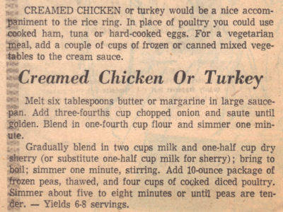 Recipe Clipping For Creamed Chicken or Turkey