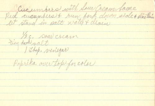 Handwritten Recipe For Cucumber Dish