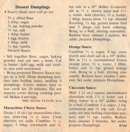 Recipe Clipping For Dessert Dumplings