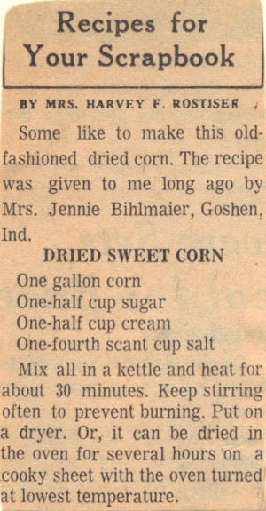 Vintage Recipe Clipping For Dried Sweet Corn