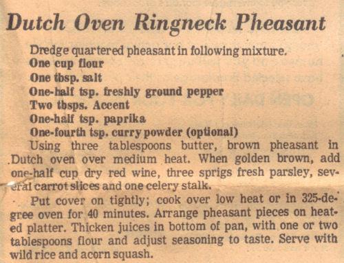 Recipe For Dutch Oven Ringneck Pheasant