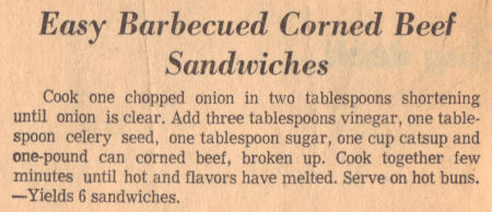 Barbecued Corned Beef Sandwiches - Recipe Clipping
